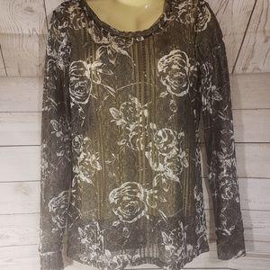 BKE Black/Silver Shimmery Floral Top